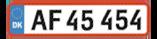 Eksempel på almindelig hvid nummerplade
